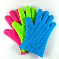 Wholesale Silicone BBQ Gloves Insulated Kitchen Tool Heat Resistant Glove Oven Gloves Pot Holder Cooking Mitts Five Fingers Anti Slip Dots