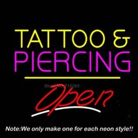 Wholesale Tattoo And Piercing Open Yellow Line Neon Sign Neon Bulbs Recreation Room Garage Art Neon Signs Tube Handcraft Best Gifts x14
