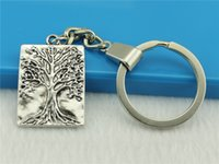 Wholesale 20pcs Key Chain Vintage Metal Key Chains Vintage one sided square Tree of Life Key Rings