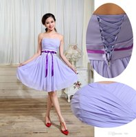 applique skating dress - 2015 new bridesmaid evening cocktail formal party short skate chiffon wedding strapless lace up lilac light purple dress