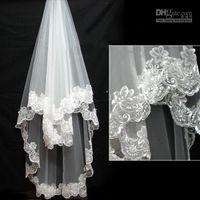 Wholesale 2015 Wedding Veil Best Selling High Quality Lace Edge Single Layer Wedding Lace Veils Bridal Veils Custom Made