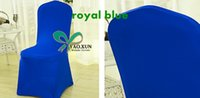 Wholesale Royal Blue Color Spandex Chair Cover Without Arch Front For Wedding