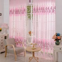 Wholesale Pink Floral Scarf Sheer Valance Voile Window Room Door curtain K5BO