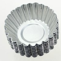 aluminum egg - inch Egg Tart Aluminum Cupcake Cake Cookie Mold Lined Mould Tin Baking Tools Y29