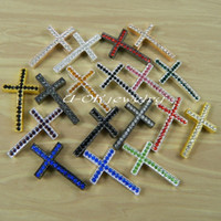 sideways cross charm - 40mm mm New Crytal Long Sideways Curved Crosses Connector Charm for Bracelets Row Crystal Rhinestone Multicolors13031101