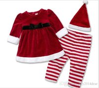 Cheap girls christmas outfit kids clothes set child clothing 2015 3 pieces hat+dress+leggings