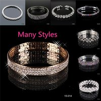 cheap bracelets - Charm Bracelets Rhinestones Wristband Stretchy For Brides Wedding Bridal Prom Girls Dress s Accessories Jewelries Cheap with