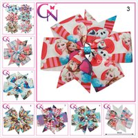 Wholesale 6 quot Inches Frozen Clips Hair Accessories Kids Bowknot Bows Flower Girls Bowknot Headband Flower Grosgrain Ribbon Hair Bows Clips DHL Free