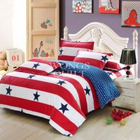 Cheap New Striped&Stars Discount Bedding Set 100% Cotton King Queen Full Size Fashion Style Free Shipping Quilt Duvet Cover Set Home Textiles 3pcs