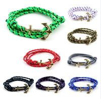 best mens jewelry - Nautical Anchor bracelets for Women Mens Fashion Jewelry Gold Alloy Handmade Braided Nylon Rope Watch Bracelets Best Friend Gift Free DHL