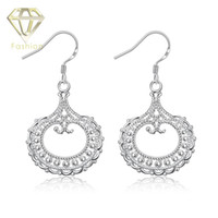 Cheap 2015 New Style 925 Sterling Silver Crystal Hollow Drop Earrings Jewelry for women