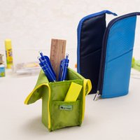 stationery and office supplies - Korean Creative Nylon Pencil Case Can Stand Brief Pen Type Pencil Case Stationery Holder School Supplies Prize and Gifts