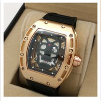 Cheap Hot New RM 052 Le Mans Classic Rose Gold AAA Black Rubber Strap mens watch Wristwatches +Box