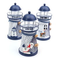 Wholesale 1PCS lighthouse Craft Ornaments Ocean Home Decoration With LED Light Handmade Painted Zakka For Living Room