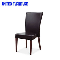 Wholesale UK FR scroll back bonded leather dining chair wood grain dining chair for restaurant hotel