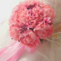 artifical hand - Beautiful Pink Artifical Flower Bridal Bouquets High Quality Handmade Hands Holding Wedding Bouch for Bridesmaid Bouquet De Mariage