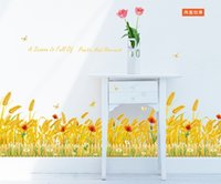 Cheap Golden wheat fields Wall Stickers Mural art Decal Self Adhesive Wallpaper Decorate removable PVC window stickers ZY7160