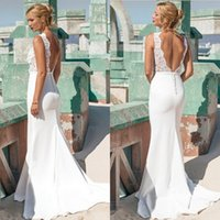 Wholesale Slim Fitting Mermaid Bridal Dresses - Gorgeous Wedding Dress Lace Mermaid Sexy Bridal Gowns Floral Top V Back Fitted Slim Custom Made Long Formal Brides Wear