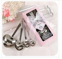 Wholesale New set set Heart Shaped Measuring Spoons set with pink gift box Wedding Favors LOVE