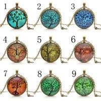 Wholesale Life Tree Pendant Necklace Eternal Tree Art glass cabochon Bronze chain vintage choker statement Necklace Fashion women Jewelry