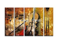 Cheap Handmade Abstract Large Canvas Painting Musical Instruments Paintings 5 Panel Wall Art Modern Oil Pictures Set Living Room Decor