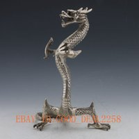 Wholesale Chinese Silver Statue - Chinese Silver Copper Handwork Carved Dragon Statue
