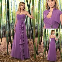 Wholesale New Purple Bridesmaids Dresses Chiffon With Jacket Strapless Ruched A line Spaghetti Straps Long Wedding Guest Gowns Cheap