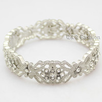art deco bracelets - Art Deco s Great Gatsby Flower Austria Crystal Bridal Cuff Bracelet Bangle Jewelry
