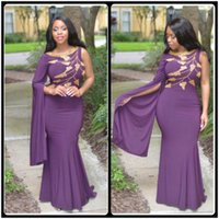 beautiful jersey - 2016 Beautiful Purple Prom Dresses Beaded Gold Crystal Mermaid Evening Dress Floor Length With One Long Sleeve vestido de festa