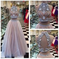 amazing dance - Amazing High Neck Heavy Beading Prom Dresses High Neck Bare Back Floor Length Tulle Skirt A Line Two Pieces Dresses Dance EVENING Gowns