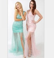 beautiful prom dresses for evening - Luxury Side Split Pink Beautiful Long Mermaid Prom Dresses with Sones For Prom Gowns vestido de formatura ballkleider Evening Dresses