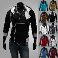 Wholesale 2014 Men s Hot Fashion Assassin Hoodies Sweatshirt Casual Slim Fit Coat Zipper Sports Jacket Plus Size M XL Colors