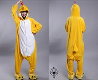 Anime Costumes adult chicken costume - 2015 Cosplay Winter Chicken Kigurumi Pajama Flannel Pajamas Hooded Conjoined Sleepwear Costumes Adult Unisex Onesie Soft Sleepwear CC060509