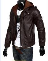 al por mayor los hombres de cuero de la chaqueta con capucha-Las nuevas chaquetas con capucha del nuevo del doble de la cremallera del doble hombres del collar hombres del invierno encapuchan las chaquetas hoody ocasionales Asia Tamaño: S-M-L-XL-XXL C304