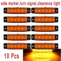 Wholesale 10Pcs V LED Truck Bus Boat Trailer Side Marker Indicators Light Lamp Amber