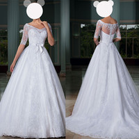 Wholesale 2015 Off Shoulder White Lace Sheer A Line Wedding Dresses Church Bridal Gowns With Bow Half Sleeves Sweep Train Wedding Gowns