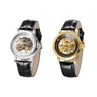 automatic watch storage - WINNER Fashion Hand winding Mechanical Watch Luxury Leather Strap Chic Brand Wristwatch for Men with Watch Box Storage Case J0407