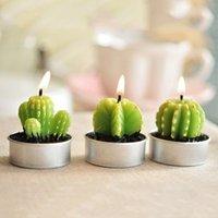 Wholesale Home Decoration Rare Mini Cactus Candles Table Tea Light Garden Simulation Plant Candle Wedding Decorative Candles Cute Velas L026