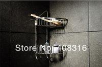 bathroom corner basket - Stainless steel double shelving bathroom basket corner shelf tripod thick solid hook