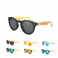 wholesale designer lots - 10Pcs New Arrival Retro Rivet Round Sunglasses Wood Polarized Sunglasses Classic Women Men Designer Bamboo Eyewear cm