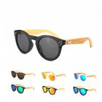 wood eyewear - 10Pcs New Arrival Retro Rivet Round Sunglasses Wood Polarized Sunglasses Classic Women Men Designer Bamboo Eyewear cm