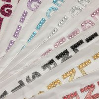 alphabet glitter - New Colors Car Styling Glitter Crystals Alphabet Letter Stickers Self Adhesive A Z Words Stick On