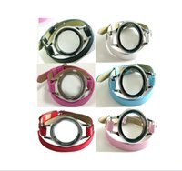 Wholesale 10pcs Stainless Steel Magnetic Wrap Bracelet Locket with Twist Heirloom Face with Leather Wrap Locket Bracelet no charms