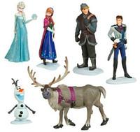Wholesale Frozen Anna Elsa Hans Kristoff Sven Olaf PVC Action Figures Toys Classic Toys set Top Quality DHL
