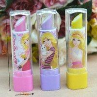 Wholesale Lipstick shape eraser New Korean princess pattern school supplies pupil award gift cartoon High quality pattern mixed