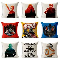 Wholesale 2016 styles Star Wars Cotton Linen Decorative Throw Pillow Case Sofa Chair Cushion Cover Home Decoration E342J