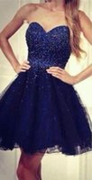 Cheap Sexy Navy Blue Short Party Dresses 2015 Sweetheart Beaded Corset A Line Homecoming Dresses Cheap Cocktail Prom Dress Gowns Custom Made