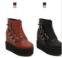 Wholesale winter fashion multi buckles platform wedge boots black leather boots good quality winter boots australia boots