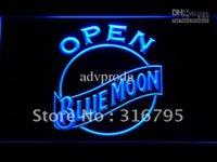 open sign - 052 b Blue Moon Beer OPEN Bar Neon Light Sign