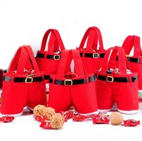 Wholesale 2014 Christmas Red Cute Santa Pants Treat Candy Bags for Christmas Gift